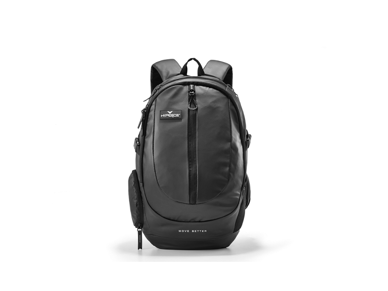 A black backpack with two shoulder straps and numerous zippered ocmpartments visible.