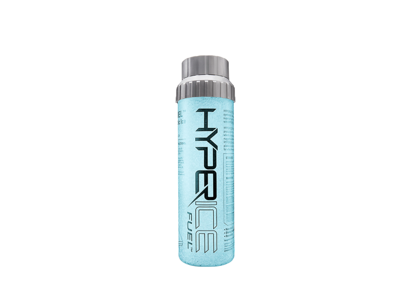 A light blue bottle with a gray cap featuring the words Hyperice Fuel