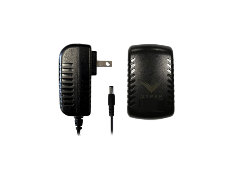 A side view of the Hyperice Vyper charger in black with the plug prongs visible.